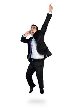 Isolated business man winner hand up photo