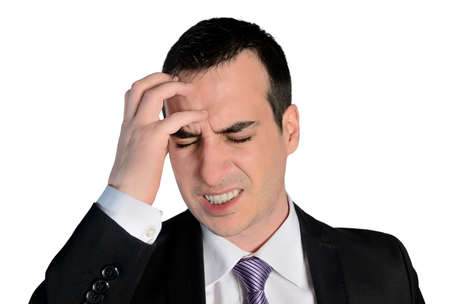 desperation: Isolated business man headache problem Stock Photo