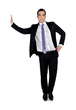 Isolated business man leaning on something photo
