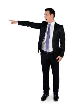 Isolated business man pointing angry photo