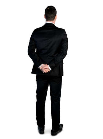 Isolated business man looking back