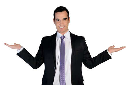 Isolated business man presenting something Stock Photo - 35749706