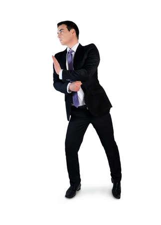 Isolated business man push something photo