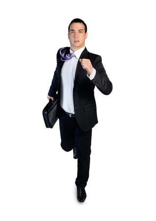 looking away from camera: Isolated business man running away Stock Photo