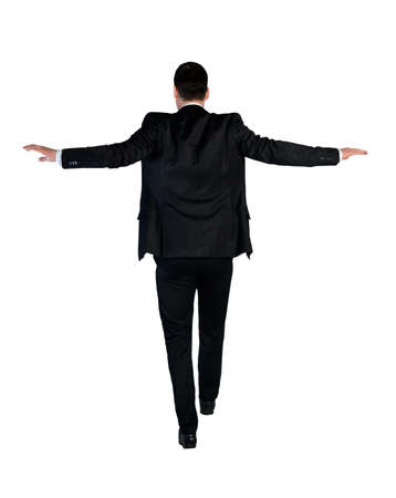 kockázatos: Elszigetelt üzletember gyalog kockázatos Stock fotó