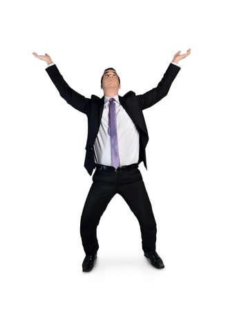 Isolated business man push up something photo