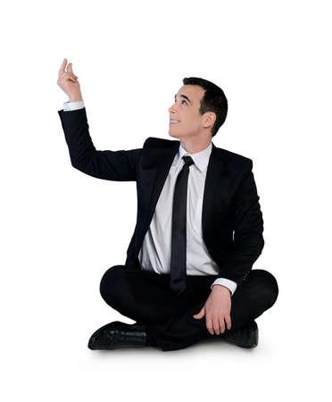 Isolated business man catch something photo