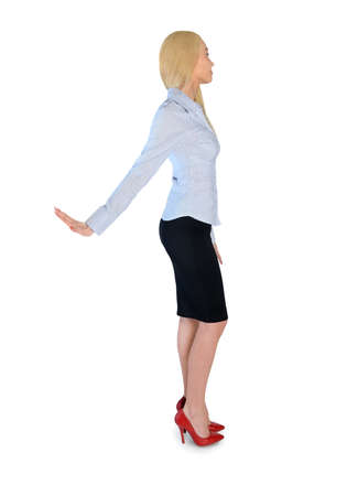 no heels: Isolated business woman rejection hand