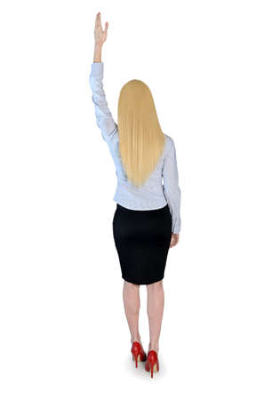 Isolated business woman reach top photo