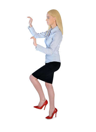 Isolated business woman climb position photo
