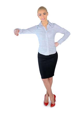 Isolated business woman holding something photo