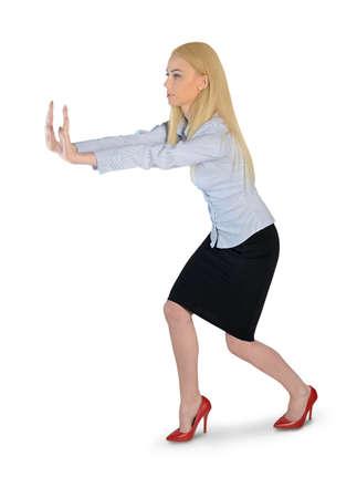 Isolated business woman push something photo