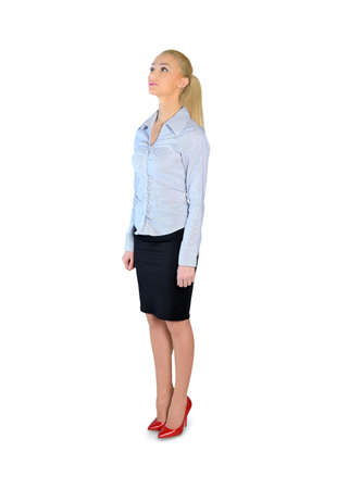 looking in corner: Isolated business woman looking corner Stock Photo