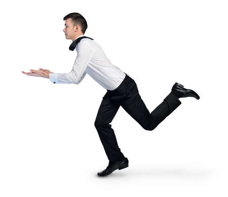 Isolated business man run hold something in hand photo