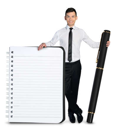 Isolated business man with empty notepad photo