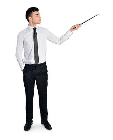 Isolated business man pointing something photo