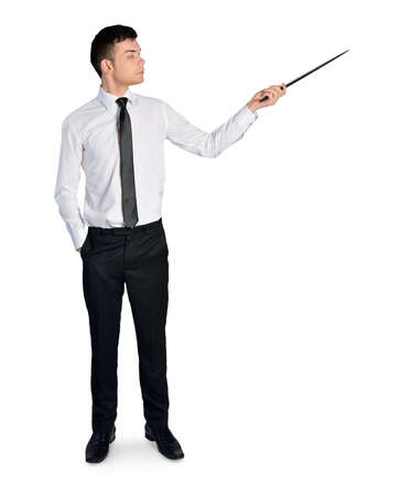 Isolated business man pointing something Standard-Bild
