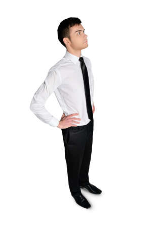 lean out: Isolated business man thinking something Stock Photo