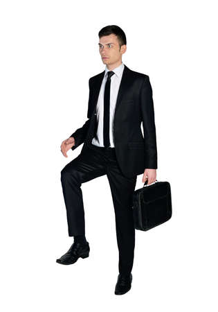 Isolated business man step up photo