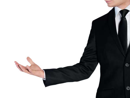 Isolated business man holding something in hand photo