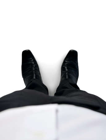 Isolated business man shoes closeup photo