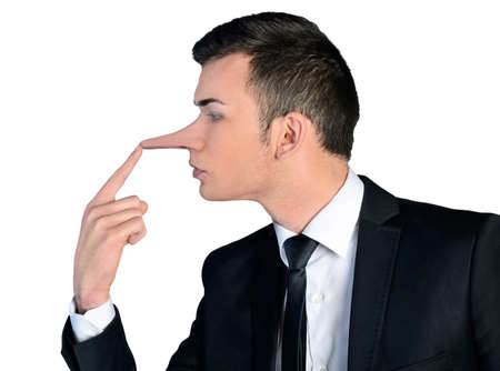 Isolated business man liar concept