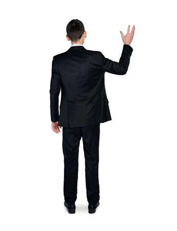 Isolated business man hold something photo
