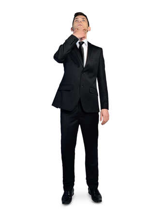 fullbody: Isolated business man thinking solution