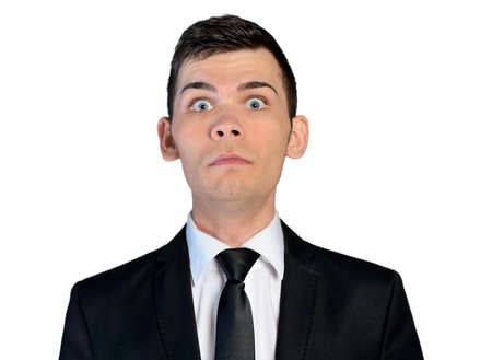 wierd: Isolated business man scared face