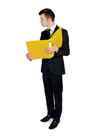 Isolated business man with folder Stock Photo