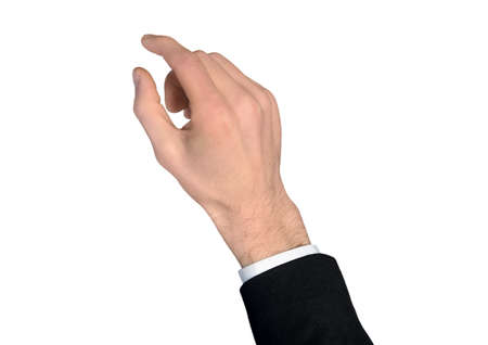 Isolated business man hand grab something