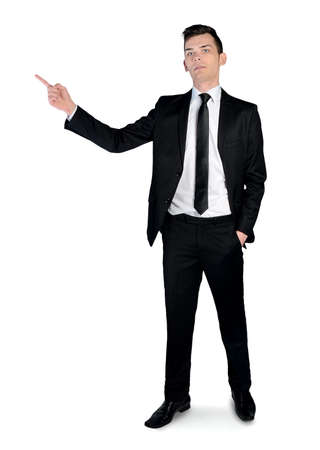 Isolated business man pointing side photo