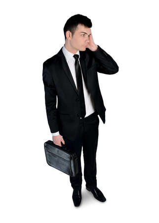 Isolated business man thinking soltuion photo