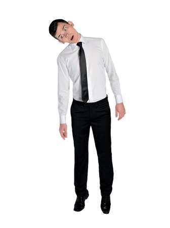 hang body: Isolated business man hang on something