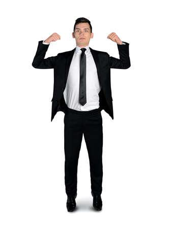 arrogancia: Hombre de negocios que muestra aislada del m�sculo