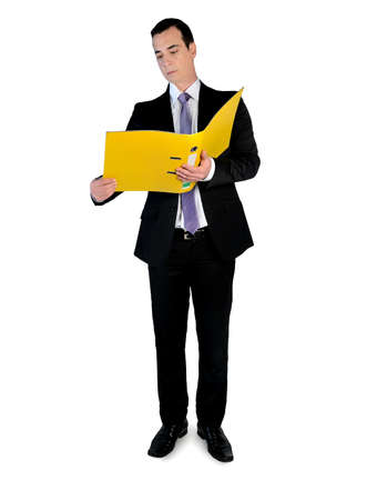 Isolated business man with file