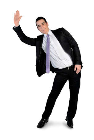 Isolated business man wave hand Stock Photo