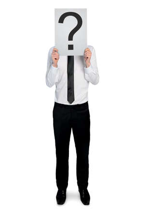 Isolated business man with question mark photo
