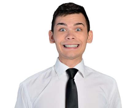 Homme d'affaires isolé grand sourire Banque d'images - 36796846