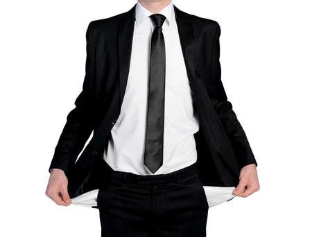 bolsillos vacios: Hombre de negocios aislados con los bolsillos vac�os