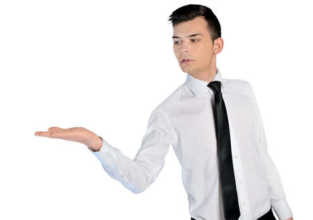Isolated business man presenting something photo