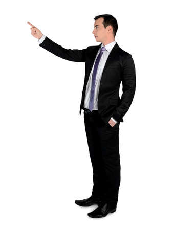 Isolated business man pointing up photo