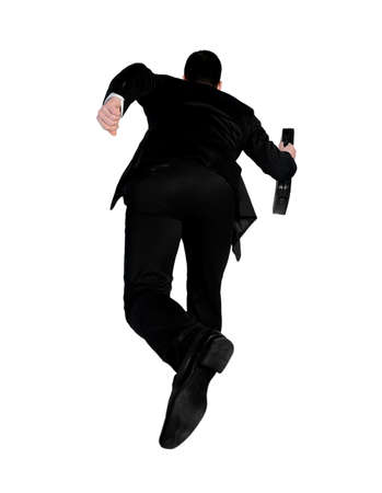 Isolated business man running away photo