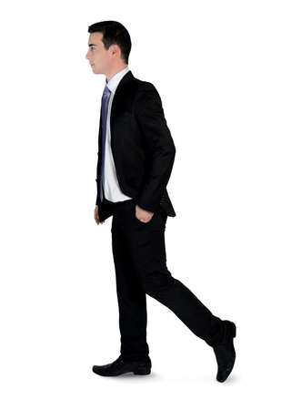 Isolated business man walk side photo