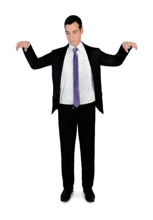 puppeteer: Isolated business man puppeteer Stock Photo