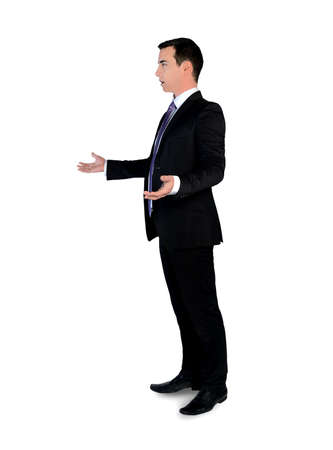business suit: Isolated young business man arguing