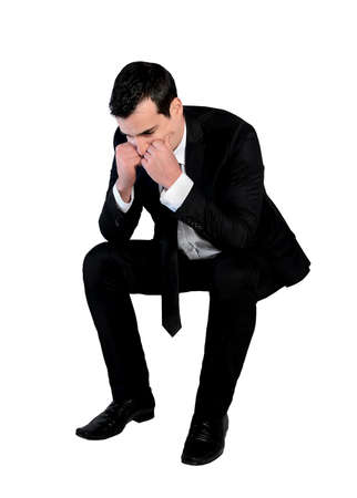Isolated business man sad looking down Stock Photo