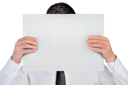 Isolated business man cover by empty board photo
