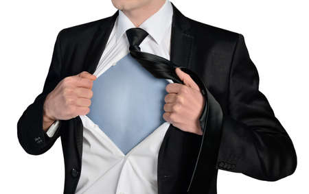 super man: Isolated business man super hero concept