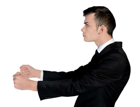 Isolated business man drive position photo